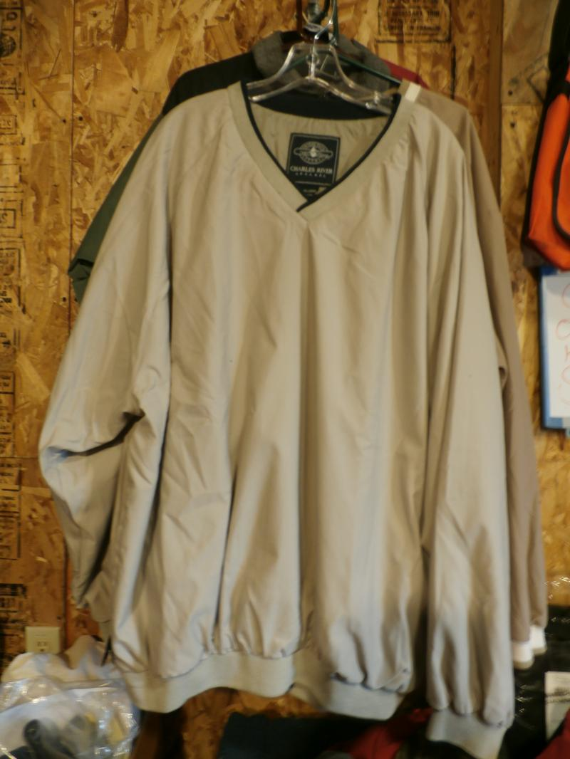 Micro Fiber Wind shirts we have 4 left over  1 med REd & white  2 pcs Khaki & black trim XXlarge  1 xlarge Tan & Natural trim